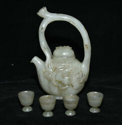 6.8 Chinese Natural Hetian Jade Carved Peach Portable Teapot Teakettle Cup Set