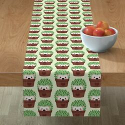 Table Runner Hedgehog Cactus Cacti Hipster Pots Cute Animals Green Cotton Sateen