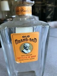 Vintage Old Grand-dad Bottled In Kentucky Empty Whiskey Bottle With Stamp