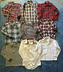 vintage kids lot Of 9 Flannel Long Sleeve Button Down Shirts Hippie 70's