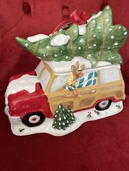 Blue Sky Collection Christmas Tree Truck Cookie Jar 11 Long-retail Priced55.00