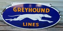 Vintage 1930's Double-sided Porcelain Greyhound Lines Bus Depot Sign.