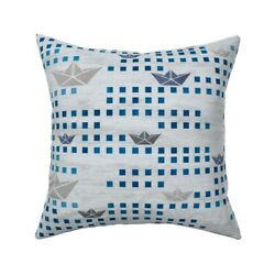 Nautical Waves Boat Paper Boat Throw Pillow Cover W Optional Insert By Roostery