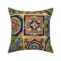 Talavera Mexican Hand Towels Throw Pillow Cover W Optional Insert By Roostery