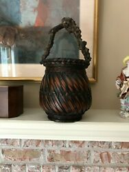 Japanese Ikebana Willow Basket With Liner And Rootwood Handle