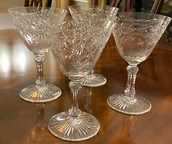 Set Of 4-extremely Rare Vintage Baccarat Crystal Marennes Pattern - Water Size