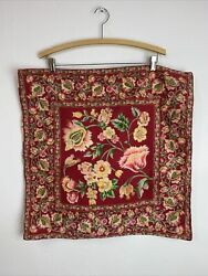 Vintage April Cornell Pillow Shams Covers 22-23 In Square Red Floral Button Set