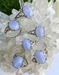 Wholesale Lot 6 Pcs Natural Blue Lace Agate White Bronze Rings Crystal