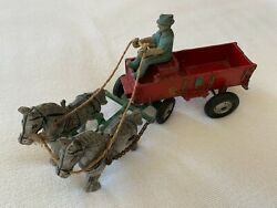 Antique 2 Horses With Red Cart Toy