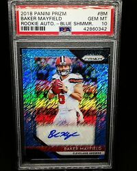 2018 Panini Prizm Baker Mayfield Blue Shimmer Rc Auto /25 - Psa 10 Pop 1 Browns