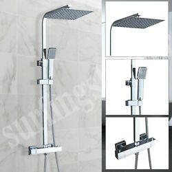 Thermostatic Exposed Chrome Shower Mixer Bathroom Twin Head Large Square Bar Set