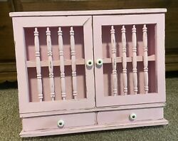 Vintage Hanging Wood Spice Rack Cabinet 2 Doors 2 Drawers Apothecary Wall Shelf