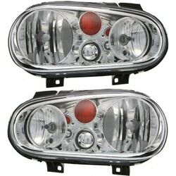 Headlight Set For 2002-2005 Volkswagen Golf Left And Right With Bulb 2pc