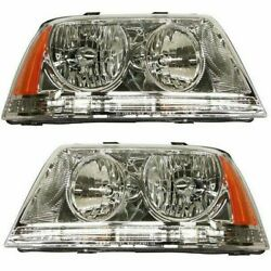 Headlight Set For 2003-2005 Lincoln Aviator Left And Right Hid With Bulb 2pc