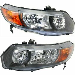 Headlight Set For 2006-2007 Honda Civic Dx Lx Ex Models Coupe Left And Right 2pc