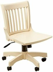 Deluxe Wood Bankers Armless Desk Chair With Wood Seat, Antique White