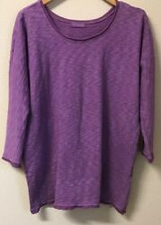 Cp Shades Lavender Cotton 3/4 Sleeve Oversized Tunictop Pockets Xs Excellent