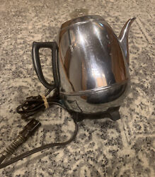 Vintage General Electric Percolator I8p40 Pot Belly Chrome Coffee Maker Ge Works