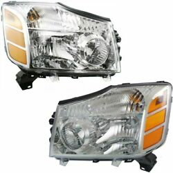Fits 2004-2015 Titan 04-07 Armada Replacement Headlights Pair Left+right 04-15