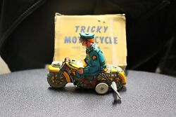 Louis Marx Tricky Motorcycle Police Wind Up Pressed Tin Toy In Box Works Well