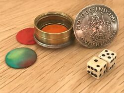 Trench Art Wwii 1939 Silver Shilling Battle Of Britain Dice Game Hazard/craps