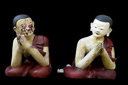 Beautiful And Rare Pair Of Antique Buddha Disciple From Burma Cheap Don't Miss