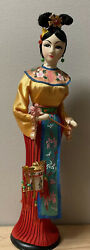 Chinese Girl Doll Oriental Vintage Silk Dress 15andrdquo Dolls Collectors