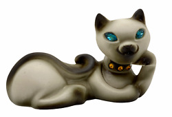 Roselane Pottery Siamese Cat with blue rhinestone eyes and collar 6quot; long
