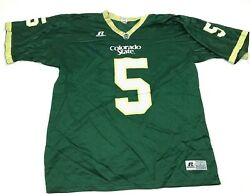 Vintage Russell Colorado State Rams Football Jersey Size Large Green Vneck Shirt