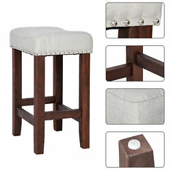 2x Counter Height Bar Stools Cushion Seat Kitchen Dining Furniture Wooden 24