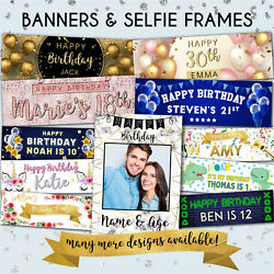 Happy Birthday Personalised Banners Girl Boy 1st/18/21st/30/40/50/60th Selfie