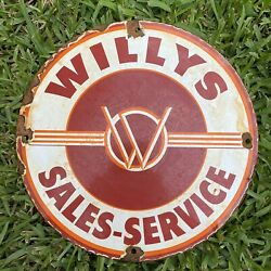 Vintage Willys Porcelain Sign Usa Oil Lube Gas Jeep Wagon Sales Service Jeepster