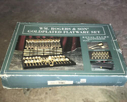 Wm. Rogers And Son Gold-plated 62 Pc Flatware Set -new In Orginal Box/wrappings-