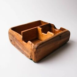 Primitive Grain Bin Antique Wood Divided Container Kitchen Spice Box Seeds Nuts
