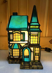 Vtg Style Stained Glass Lighted Christmas Village House Table Lamp