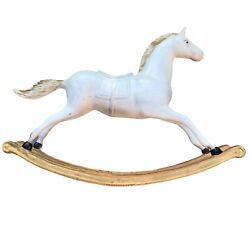"""Antique 19th Century Cast Iron Toy Rocking Horse Hand Painted 32""""l X 23""""h 23 Lbs"""