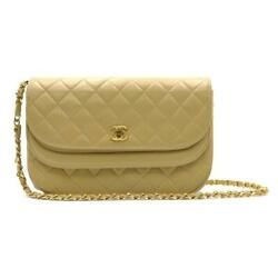 Chain Shoulder Hand Bag Leather Beige Used Coco