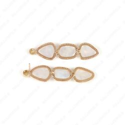 Opal Gemstone Natural Diamond Solid 14k Gold Dangle And Drop Earrings