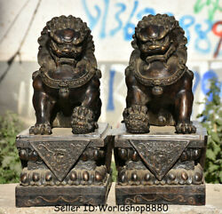 16.8 Antique Old Chinese Bronze Feng Shui Foo Fu Dog Guardion Lion Pair Statue