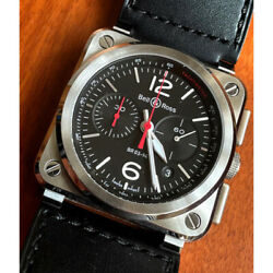Bell And Ross Br03-94 Black Steel Chronograph Blc-st Stainless Steel Leather Black