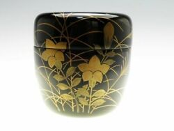 Japanese Wooden Lacquer Makie Tea Caddy Natsume Flower W/ Box