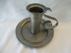 Vtg Norway Pewter Candle Holder Chamberstick Hand Made Large Tinn Handle 5x7