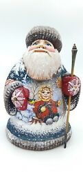10.2 Great Wooden Russian Carved Santa Father Frost Ded Moroz Christmas
