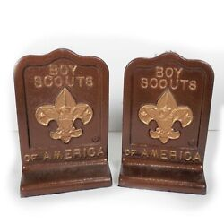 Pair Of Vintage Boy Scouts Of America Bookends Cast Metal Collectible Heavy 8