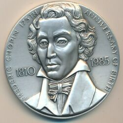 1985 Medallic Art Co Silver Medal-frederic Chopin-193+ Grams 999 Fine-ships Free