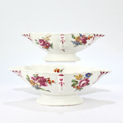 Pair Of Antique 18th Century Imperial Vienna Porcelain Sauce Or Gravy Boats - Pc