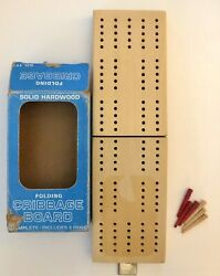 Crestline Vintage Folding Wood Travel Cribbage Board Hinged Box With 6 Pegs