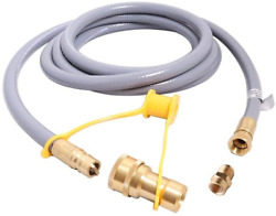 12ft Propane Hose With Gauge,include Tank Adapter Converts Pol Lp Tank To Qcc1