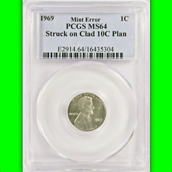1969 Pcgs Ms64 Lincoln Cent On Dime Planchet ✅ Only 2 Ever Auctioned 1c On 10c
