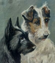 Antique Painting Of Terrier Dogs In The Manner Of Marguerite Kirmse.